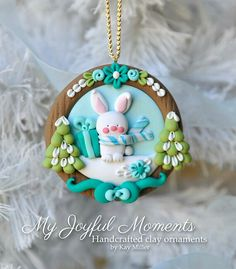Handcrafted Polymer Clay Winter Bunny Scene Ornament