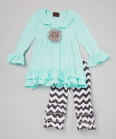 Look what I found on #zulily! Teal & Black Ruffle Tunic & Pants - Toddler & Girls #zulilyfinds