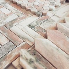 P R E T T Y Pretty pink Pickets, Hex and Herringbone in our Oslo Rose Norwegian Pink Marble - all ready come and play with tomorrow from at 256 High St, Prahran. Marble Mosaic, Stone Mosaic, Mosaic Tiles, Marble Wall, Best Bathroom Tiles, Stone Bathroom, Kitchen Tiles, Green Marble, Pink Marble