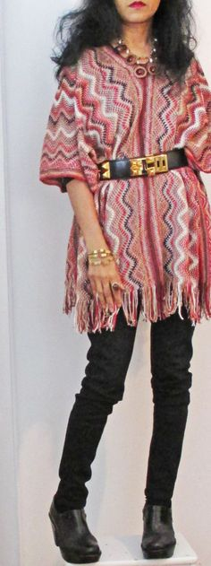 zigzag poncho outfit  - pair w/ jeggings and cute boots