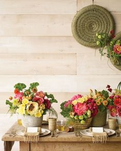 flowers in baskets...always such a pretty touch of natural with a great pop of color!