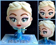 Elsa Chibi Cake! Clreated using this Chibi Cake Course!  #elsa #frozen #elsacake #chibicake
