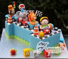 Number One with Jungle Animals Cake