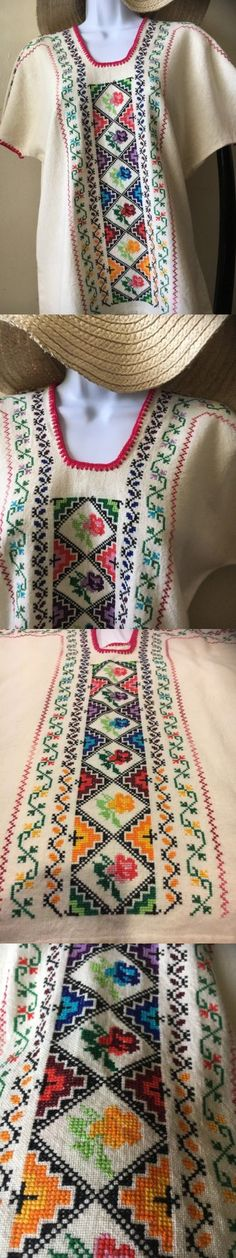 Latin America 155252: Beige Michoacan Blouse Hand Embroidered And Woven Mexico Frida Hippie Boho M L -> BUY IT NOW ONLY: $59.99 on eBay!