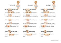 My body - Education Kindergarten Activities, Educational Activities, Preschool, Primary Education, Kids Education, German Resources, Deutsch Language, Kindergarten Portfolio, German Grammar