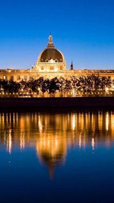 Lyon, France, Night, City, River, Landscape