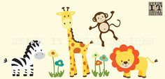 FABRIC DECAL Safari Wall Decal Nursery Wall by StickItDecalDesigns, $85.00