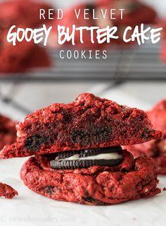 Red Velvet Oreo Gooey Butter Cake Cookies - I Wash... You Dry