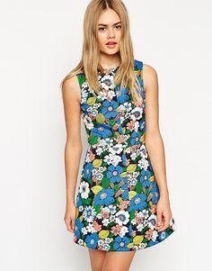 8d74fcb9a9b1 New Fashion Ladies  Elegant SWEET floral print chiffon Dress vintage O neck  zipper sleeveless casual slim brand dress
