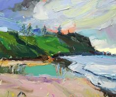 """After two weeks in #Sydney it feels great to be back #painting my beloved south coast. Sand, sea and sunsets... """"Headland at Coledale"""", 35X45cm #Coledale #landscape #painting #artgallery"""