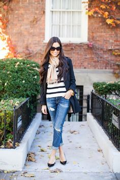Classic style, stripped sweater, camel scarf, boyfriend jeans, black trench coat.