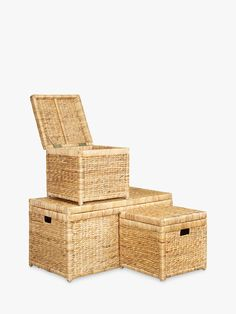Buy John Lewis & Partners Water Hyacinth Trunks, Set of 3 from our Boxes & Baskets range at John Lewis & Partners. Bed Storage, Storage Boxes, Basket Weaving, Hand Weaving, Box Bed, Water Hyacinth, Recycle Plastic Bottles, Weaving Techniques, John Lewis