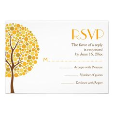 Autumn tree in fall colors wedding RSVP response card, part of a wedding set.