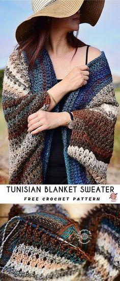 Tunisian Blanket Sweater Crochet Pattern [FREE] Source by hohmannashley Tunisian Crochet Blanket, Tunisian Crochet Patterns, Crochet Cardigan Pattern, Knitting Patterns, Crochet Gratis, Free Crochet, Crochet Baby, Crochet Shrug Pattern Free, Free Pattern