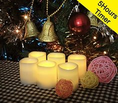 "Battery Operated Candles with Timer By Festival Delights® - 6 Unscented Small Flameless Candles, Dia. 1.5""x1.75"" Height, 6 Extra Batteries Included, LED Candles, Flameless Candle Set, Votive Candles, Wedding Decor Festival Delights http://smile.amazon.com/dp/B00LEPDYIA/ref=cm_sw_r_pi_dp_d2Bhvb09JJAMG"