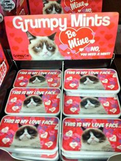 2015 Grumpy Cat Mint Candies for Valentine's Day #GrumpyCat #Tard #TardarSauce // Edit: I have no idea where these are being sold. I've looked online, and they are not on the official regular GC site nor on Amazon, Target, or Wal Mart so far. Photo was taken from GC official Facebook page, but they did not say where these are sold