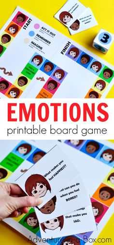 EMOTIONS is a fun printable board game for kids and adults to play together! Players will be challenged to act, discuss and imagine, while learning all about emotions and each other. games Printable Board Game for Kids to Learn about Emotions Emotions Game, Feelings Games, Teaching Emotions, Emotions Activities, Social Skills Activities, Social Emotional Learning, Articulation Activities, Social Games, Free Games For Kids