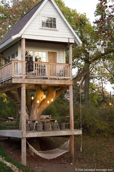 A tiny cabin/tree house that looks cozy, fun, relaxing, and allows you to be surrounded by nature.