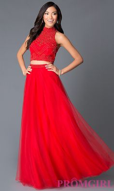 High Neck Red Two Piece Beaded Red Long Prom Dress Style: NA-8173