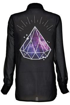 Diamond Decoed Black Shirt #Romwe #Romwe #Fashion #Contest #Pinterest #Girl #Streetfashion #beauty