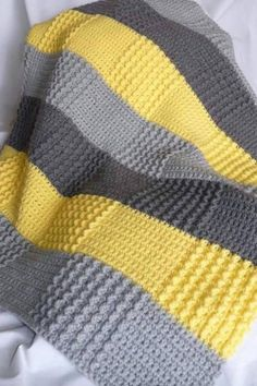 Crochet Gray Yellow Blanket (Double crochet and sedge stitch? I love the colors and textures: Crochet Gray Yellow Baby Blanket Phillips-Barton Newnham love the patchwork effect of color changes + stitch texture changes without having to piece everything t Baby Blanket Crochet, Crochet Baby, Knit Crochet, Double Crochet, Free Crochet, Bunny Blanket, Chevron Crochet, Baby Afghans, Knitting Patterns
