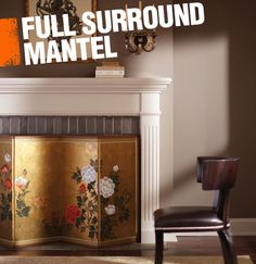 A full surround mantel is made up of a continuous piece that fully surrounds the fireplace inset. Full surround mantels are traditionally made of wood and have a heavy ledge on the top for placing art and decor.