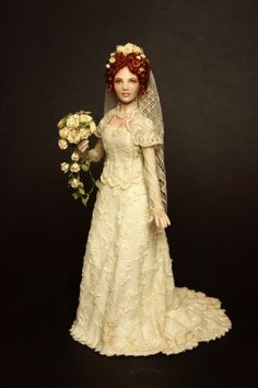 Custom miniature Dolls and Clothing (jt-this beautiful bride is by Elisa Fenoglio - bouquet by Carol Wagner)