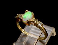 Opal & Diamond Engagement Ring. Yellow White Rose by AmyKJewels