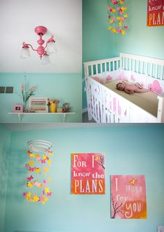 Our finished #baby girl's room! Ideas for the room ALL came from Pinterest (room colors, DIY butterfly mobile, DIY #verse on canvases, #DIY repurposed/spray painted old light fixture, decor on shelf)