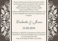 Wedding invitation card. Tarjeta invitación para boda disponible en http://www.elsurdelcielo.com