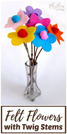 Use the free felt flower pattern printable template and learn how to make felt flowers with this easy step by step tutorial. DIY felt flowers and felt flower bouquets on twigs is a craft and gift idea for kids, teens, and adults. Give mom a felt flower bouquet for Mother's Day or just to say I love you any day! #RhythmsOfPlay #FlowerCraft #FeltCraft #DIYGiftIdea #MothersDayGiftIdea #HandmadeGift #KidsCraft