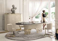 Elegant Dining Area Featuring a Longhi Table   Home Ideas