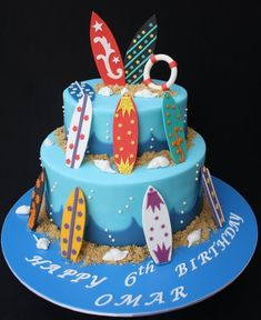 Best chocolate cake decoration for boys Ideas Surf Decor, Decoration Surf, Cupcakes, Cupcake Cakes, Surfer Cake, Surfboard Cake, Movie Cakes, Beach Cakes, 40th Birthday Cakes