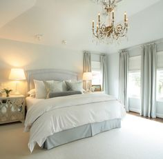 white bedding with gray.....love!