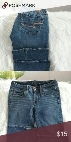 "American Eagle jeans Excellent condition artist stretch 99%cotton 1%spandex inseam 30"" American Eagle  Jeans Flare & Wide Leg"