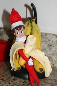 Elf on the shelf getting into the bananas - easy and cute