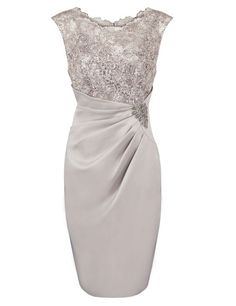 Fashion Scoop Appliques With Sequins Knee-length Grey Mother of The Bride Dress,Grey mother bride of dress,mother of the bride dress 2016,short wedding party dress