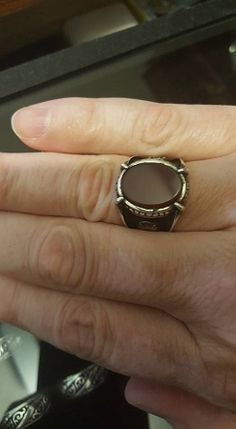 SIZE 10 Sterling Silver Turkish Ottoman Agate Stone Mens Ring