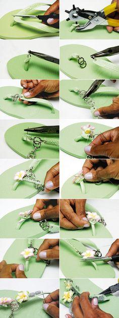 decorating flip flops chains flowers tutorial