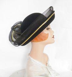 Vintage breton hat, black Sylvia, gold trim, huge bow by TheVintageHatShop on Etsy