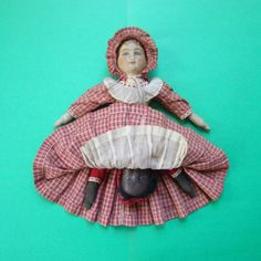 Bruckner-Topsy-Turvy-Black-White-Cloth-Doll-Antique-C1900-Mask-Face