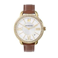 #SWAROVSKI Aila Day Brown Yellow Gold Tone Watch - Featuring an eye-catching contrast between golden and brown tones and sparkling with Swarovski crystals, this feminine and contemporary watch combines perfectly with any jewellery.   #swarovskicrystals #womensfashion #yellowgold #watches