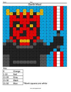 Darth Maul Multiplication coloring page