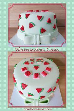 Adorable Watermelon Cake - Summer's #1 Fruit - CakeLovesMe - Creative Birthday Cake Ideas, New! - watermelon cake - Beautiful Cakes, Amazing Cakes, Fondant Cakes, Cupcake Cakes, Sweet Watermelon, Watermelon Cake Ideas, Fresh Strawberry Cake, Strawberry Puree, Strawberry Buttercream Frosting