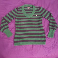 Ralph Lauren/POLO Green/Navy Stripe Sweater GENTLY WORN! IN GREAT CONDITION! Adorable V-Neck long sleeve sweater. Super snuggly fabric, 100% cotton. Perfect for layering!  BRAND: Ralph Lauren - Polo SIZE: L Ralph Lauren Sweaters V-Necks