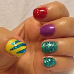I want to do this to my nails! - I want to do this to my nails! I want to do this to my nails! Little Girl Nails, Little Mermaid Nails, Fancy Nails, Cute Nails, Pretty Nails, Nails For Kids, Girls Nails, Disney Nail Designs, Nail Art Designs