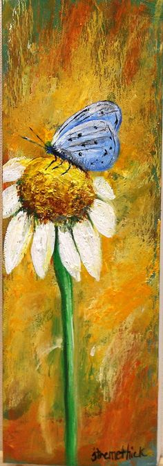 Art painting butterfly daisy. wildflower by ThisArtToBeYours, $45.00