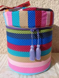 Storage round box of multicolour patchwork fabric handmade by Aliki01 on Etsy