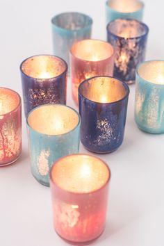 DIY: colorful mercury glass votives