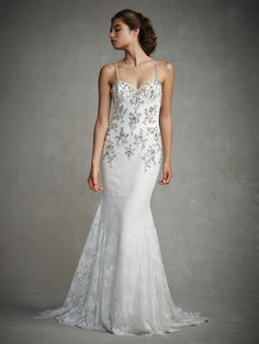 Style * JOYCE * » Enzoani 2015 Collection » by Enzoani » Available Colours : Ivory/Silver ~ Shown with delicate Beaded Spaghetti Straps & Beaded Appliqués over a soft Chantilly Lace Bodice & low Illusion V-Back.